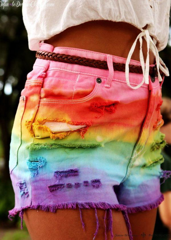 Rainbow Tie Dye Shorts. Decorate your old shorts with colored ropes, wire, buttons or zippers, denim, sequins, silk and lace and what ever you like. It is fun and inspiring to make some creative shorts for yourself.