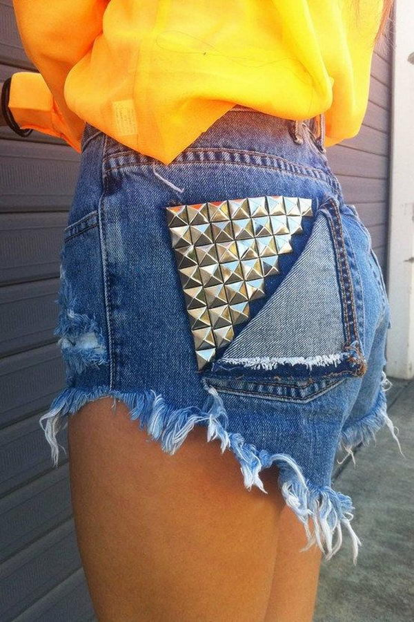 Studded Shorts. Decorate your old shorts with colored ropes, wire, buttons or zippers, denim, sequins, silk and lace and what ever you like. It is fun and inspiring to make some creative shorts for yourself.