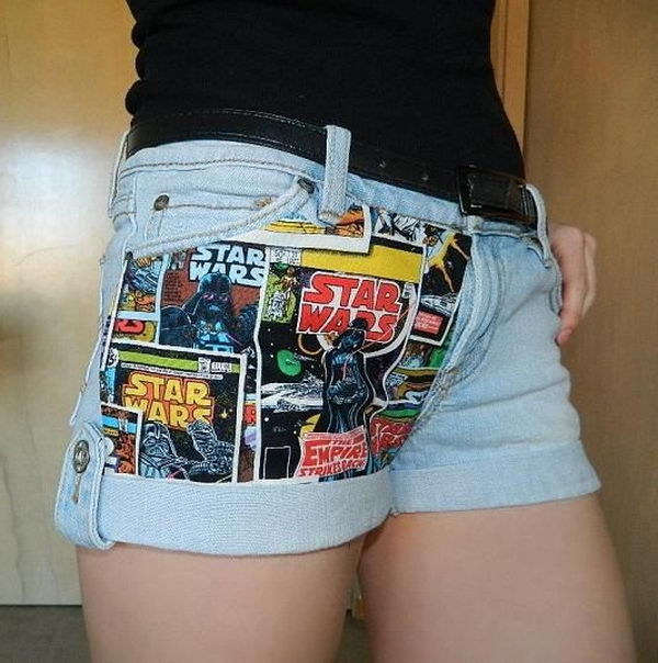 DIY Fabric Panel Shorts. Decorate your old shorts with colored ropes, wire, buttons or zippers, denim, sequins, silk and lace and what ever you like. It is fun and inspiring to make some creative shorts for yourself.