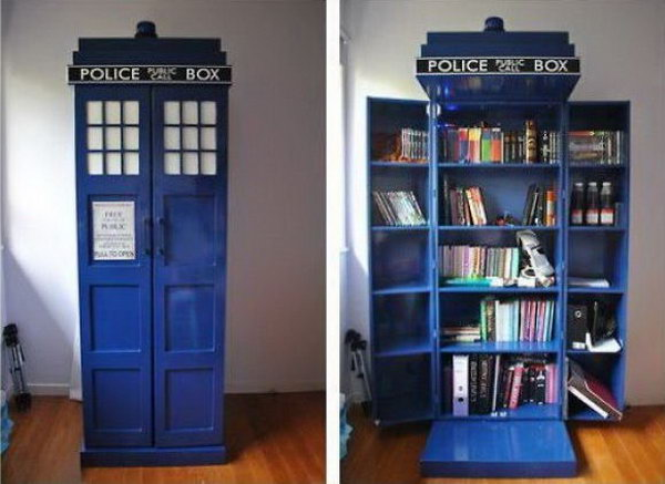 If you are a Doctor Who fan and love to read, this handmade TARDIS bookshelf is perfect for you.
