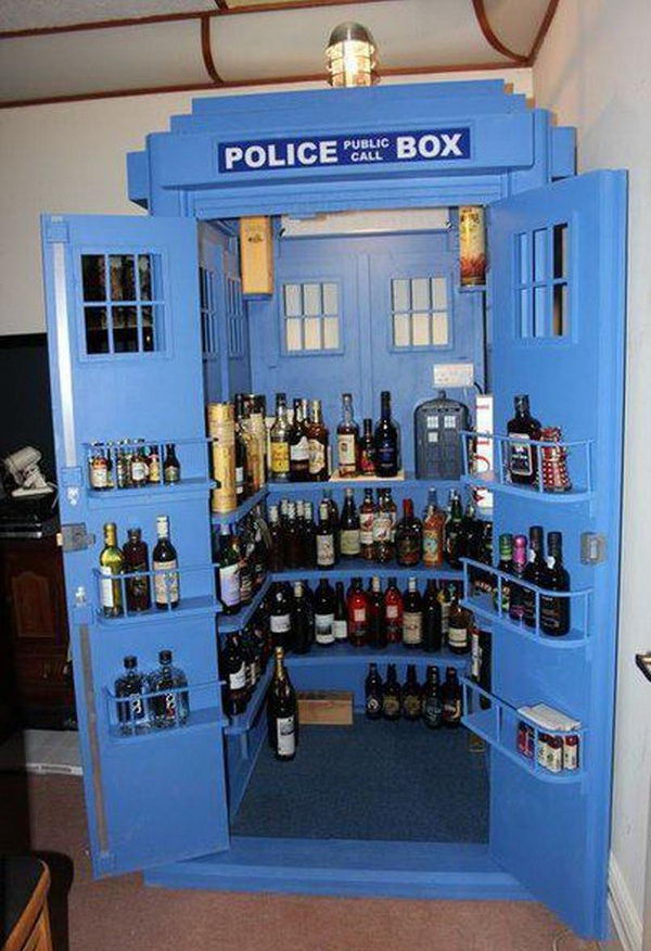 For those of you Doctor Who fans that like to keep a lot of booze on hand, here's a must have TARDIS inspired liquor cabinet to put it all in.