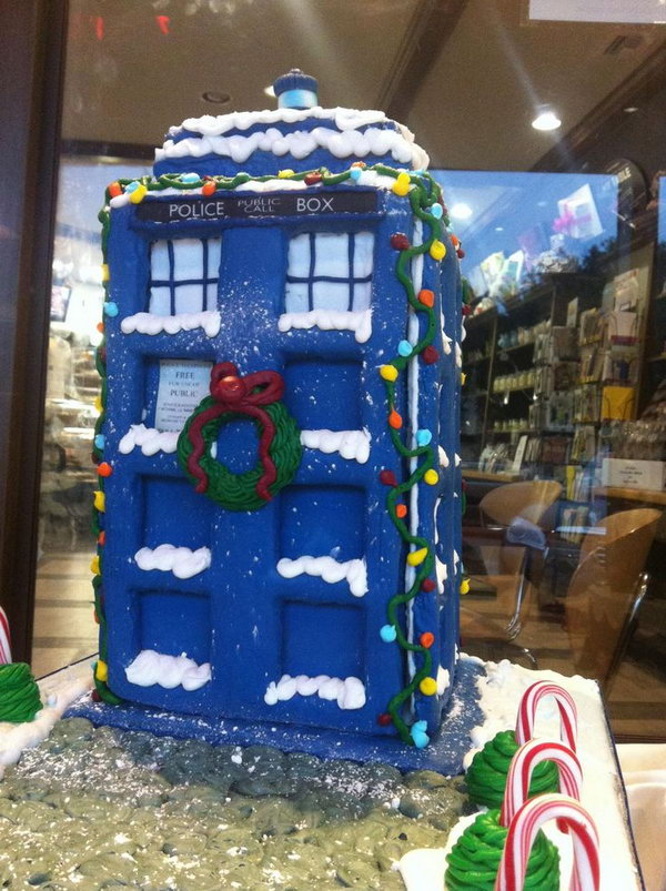Gingerbread TARDIS Decorated with Icing,