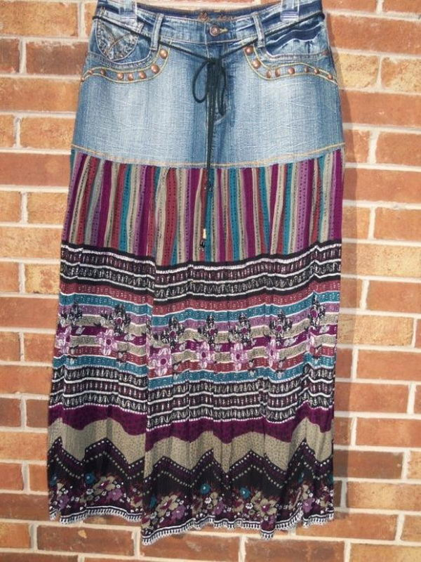 Recycled Jeans Skirt. Do something new today that will be fashionable all summer.