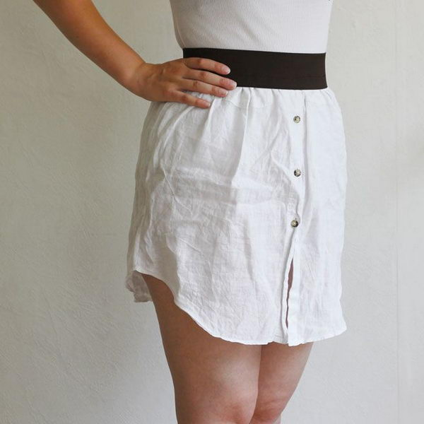 Upcycling Shirt Skirt. Do something new today that will be fashionable all summer.