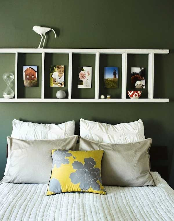 Creative Headboard Ideas Part - 37: Rustic Ladder Headboard
