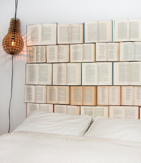 DIY Book Headboard. Not only served to isolate sleepers from drafts and cold in less insulated buildings, but also was a important decorative element in your bedrooms.