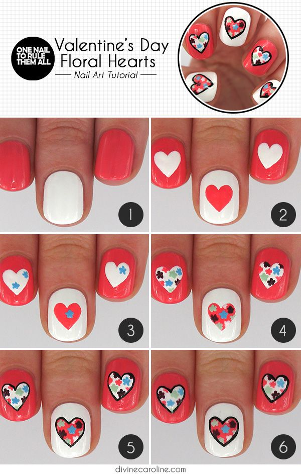 Valentines Heart Nail Art With And Floral Designs
