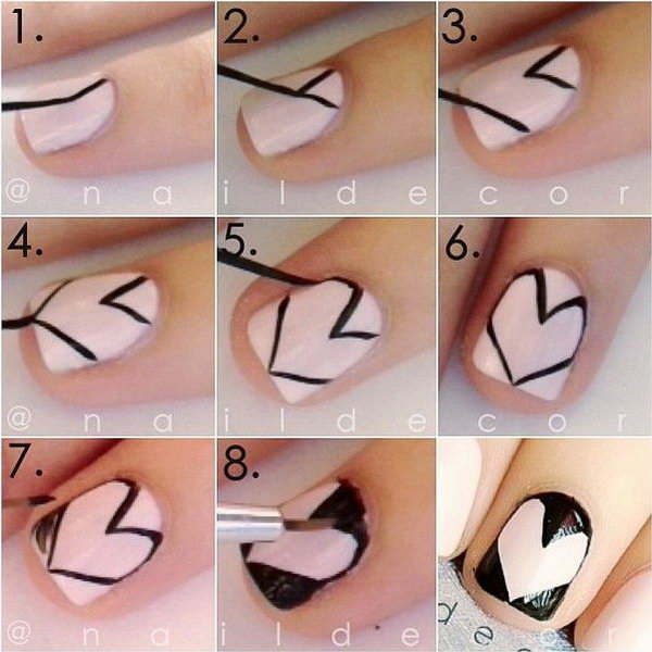step by step heart nail art designs for valentine u2019s day