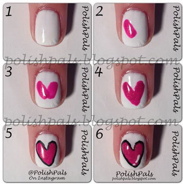 Valentineu0027s Day Simple Heart Nail,