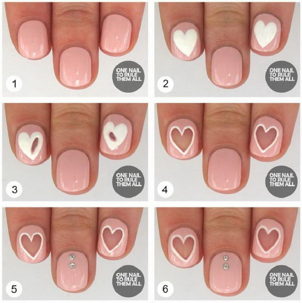 Negative Space Valentine Nail Art,