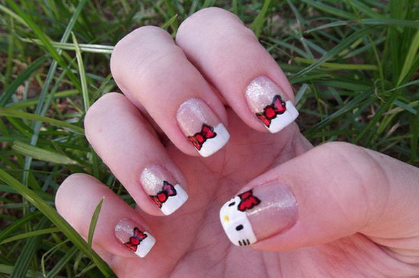 Hello Kitty Nail Art Designs http://hative.com/cute-hello-kitty-nail
