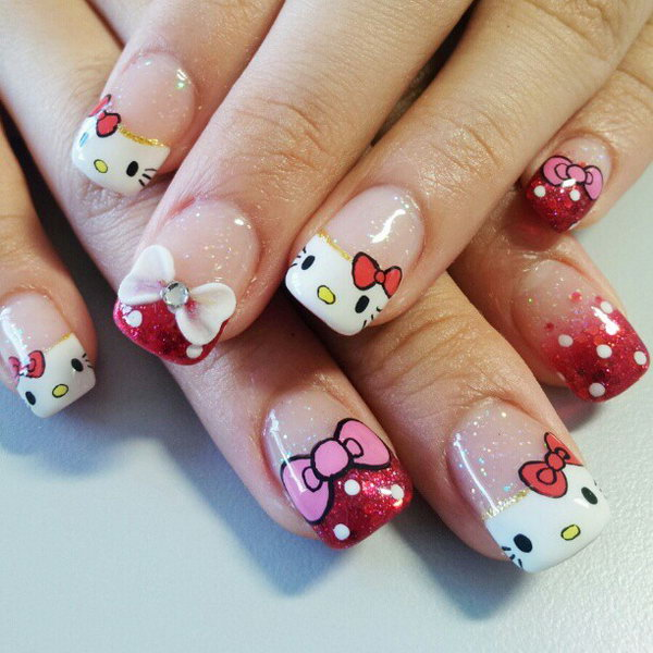 Cute hello kitty nail art designs hative cute and creative hello kitty nail art designs prinsesfo Images
