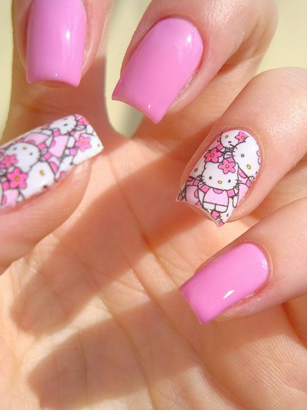 Cute Hello Kitty Nail Art Designs - Hative