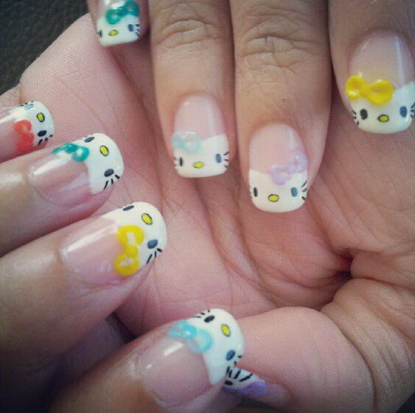248 Creative Nail Art Designs For Girls Looking To Up: Cute Hello Kitty Nail Art Designs