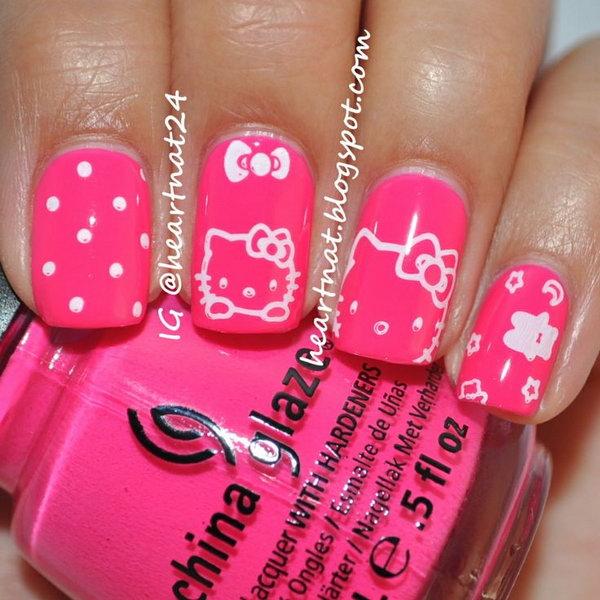 Cute and Creative Hello Kitty Nail Art Designs