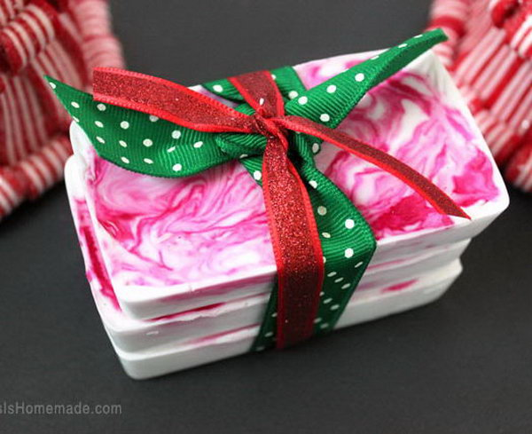 These lightning quick peppermint soaps are a fun DIY holiday gift idea for friends, neighbors and teachers and can be whipped up in about ten minutes.