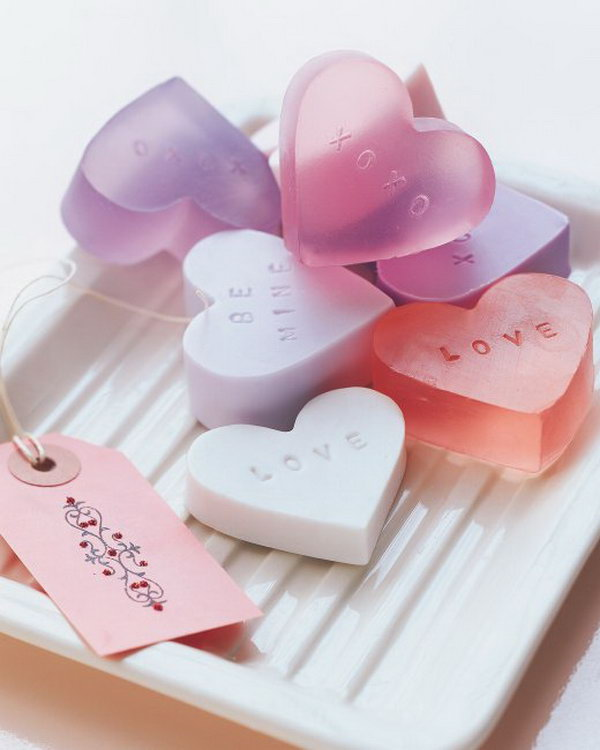 These heart shaped soap are perfect gifts for Valentine's Day. They could also be made into other shapes as well for other gifts.