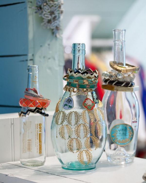 Glass Bottle Jewelry Display.