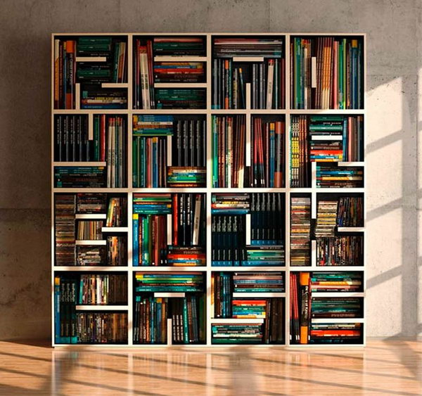 ABC Bookcase is composed by open shelving square modules. Through the use of shelves of different lenght, each unit looks like an alphabet letter. It is a furniture you can read and write in different ways for a unique and original result.