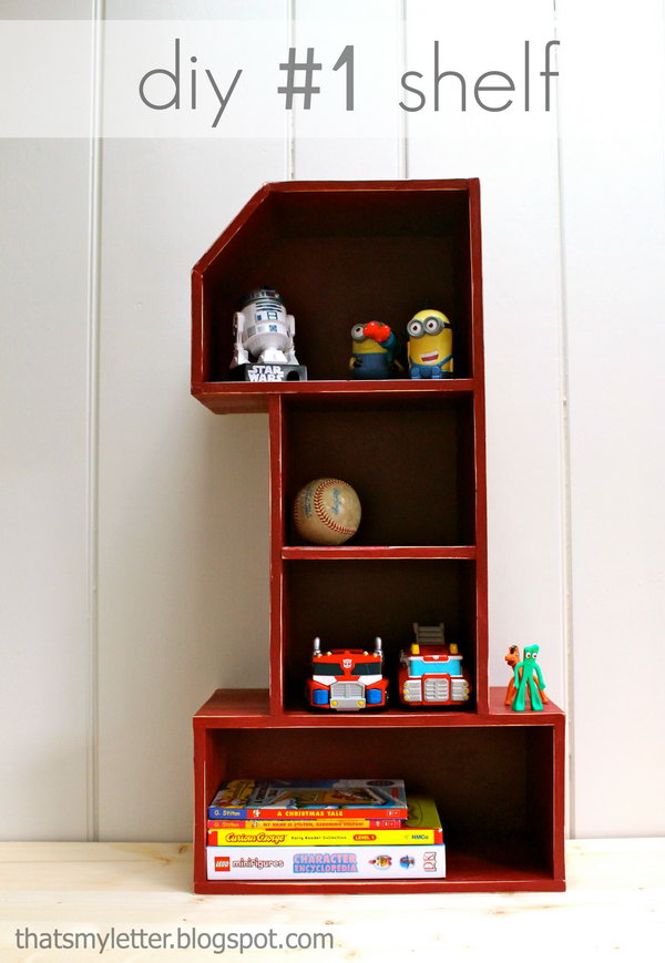 This number 1 shelf is perfect for any child to fill up with all their favorite treasures, books and knick knacks.