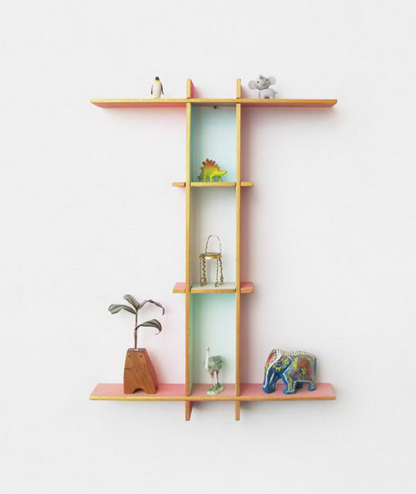 cool letter shaped shelves hative With letter shaped photo frames