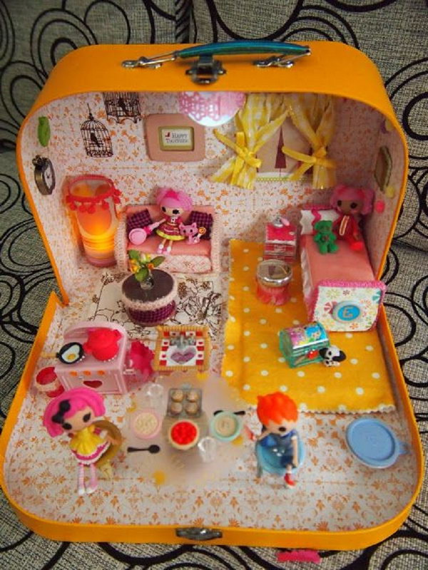 Doll House In A Suitcase, http://hative.com/creative-diy-ideas-with-old-suitcase/