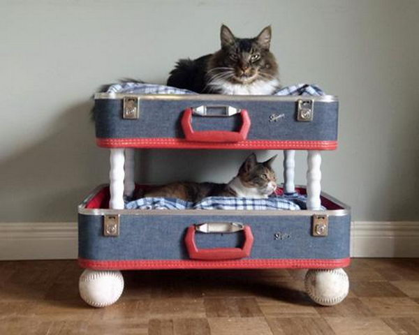 Pet Bed Made From Old Suitcase, http://hative.com/creative-diy-ideas-with-old-suitcase/