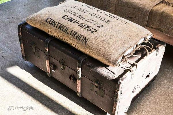 Old Trunk And Bean Sack Ottoman, http://hative.com/creative-diy-ideas-with-old-suitcase/