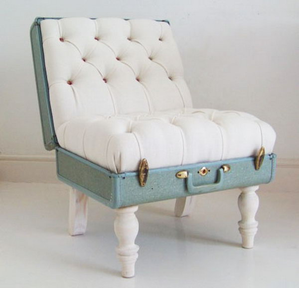 Old Suitcase Chair, http://hative.com/creative-diy-ideas-with-old-suitcase/