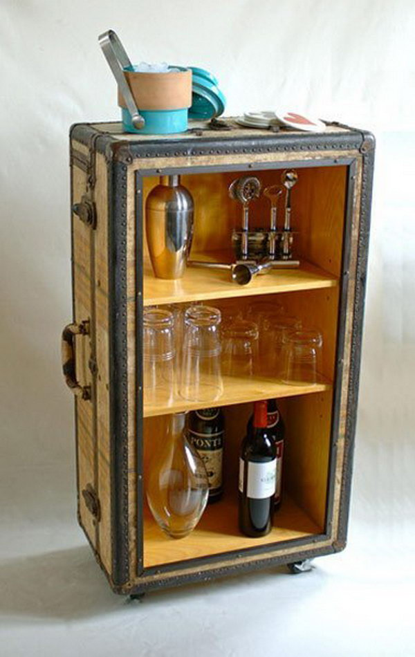 This DIY rolling bar from old trunk is not only functional, but aesthetically pleasing. http://hative.com/creative-diy-ideas-with-old-suitcase/