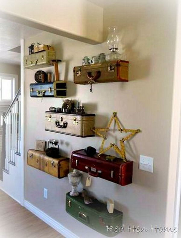 It would look fantastic with these vintage suitcase shelves. http://hative.com/creative-diy-ideas-with-old-suitcase/
