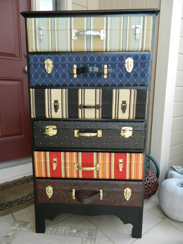 Suitcase Dresser, http://hative.com/creative-diy-ideas-with-old-suitcase/