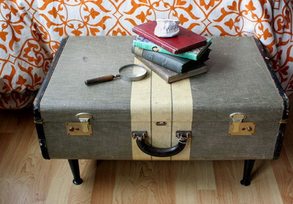 Vintage Suitcase Storage Bench, http://hative.com/creative-diy-ideas-with-old-suitcase/