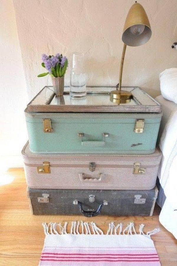 Stacked on top of one another, two or three suitcases can serve as an eye catching, yet perfectly functional DIY nightstand. http://hative.com/creative-diy-ideas-with-old-suitcase/