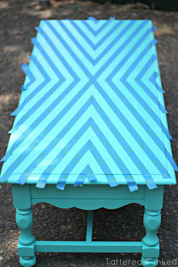 turquoise painted furniture ideas. Geometric Coffee Table Makeover, Turquoise Painted Furniture Ideas