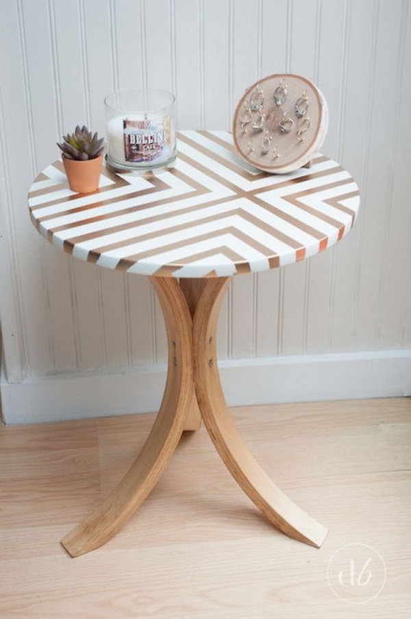Spray Painted Furniture Ideas Part - 17: Takes An Old Ikea Table And Gives It A Gorgeous And Trendy Side Table  Makeover Using