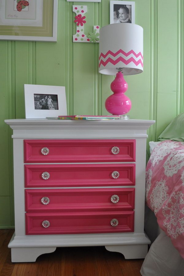 Take A Simple Nightstand And Add Bright Colors To Just The Drawers