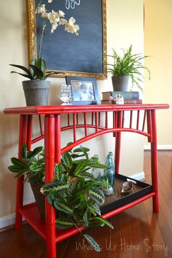 Red Painted Bamboo Furniture,
