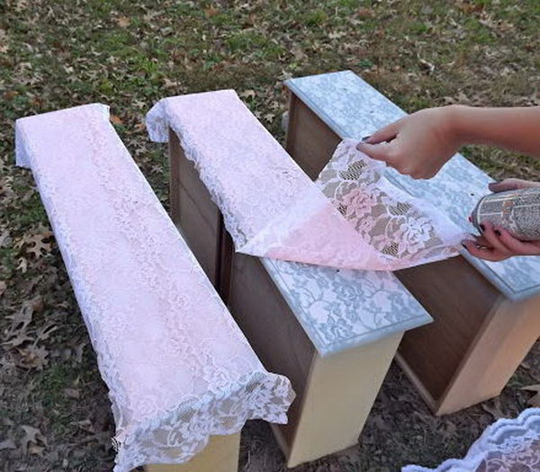 Spray Painted Furniture Ideas Part - 16: Transform Furniture With Lace And Spray Paint.