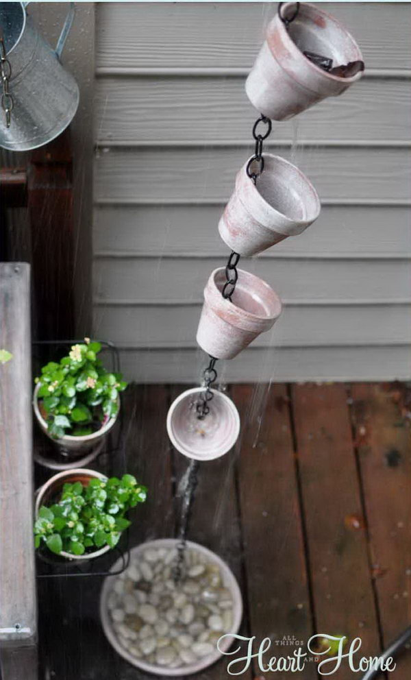 Adorable painted flower pot rain chain. Not only make a good sound and enhance your house exterior appearance, but also divert water away from your house.