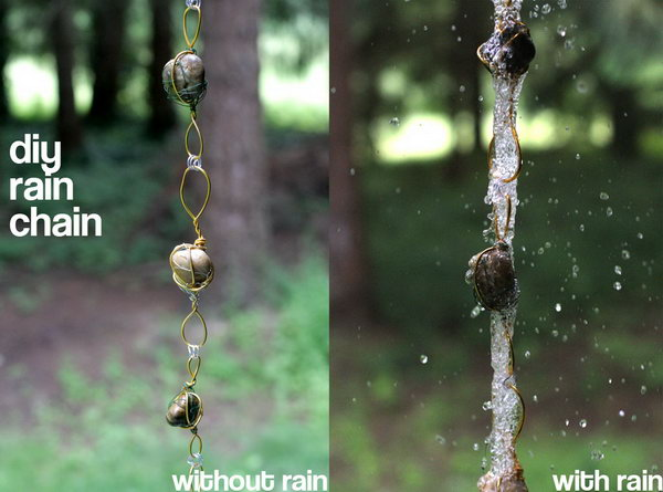 Rain Chain from Wire Wrapped Rock. Not only make a good sound and enhance your house exterior appearance, but also divert water away from your house.