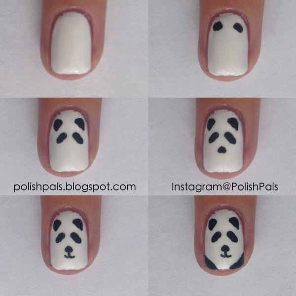 Simplistic Panda Nail Art,