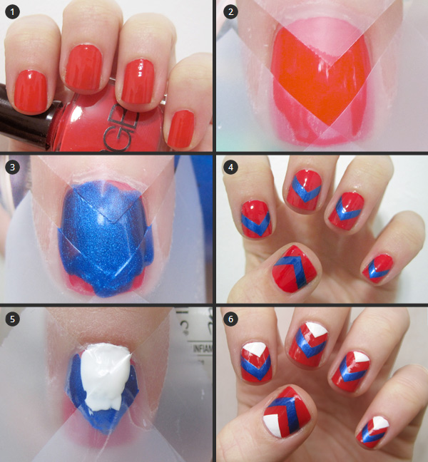 Cool and easy step by step nail art designs hative chevron tape manicure solutioingenieria Choice Image