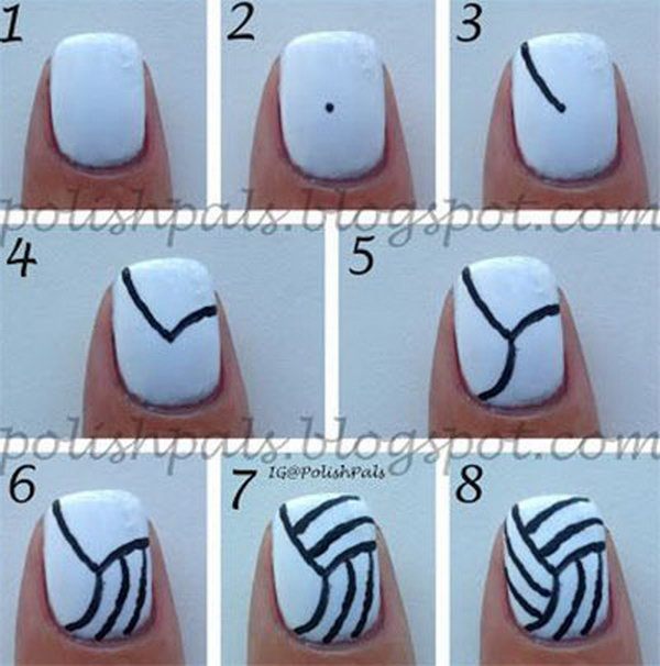 Volleyball Nail Art Tutorial. When you have a volleyball game, get together with some of your teammates and do their nails with these super easy volleyball nails! Or if you aren't a volleyball player, go support your friends' with this kind of mani.