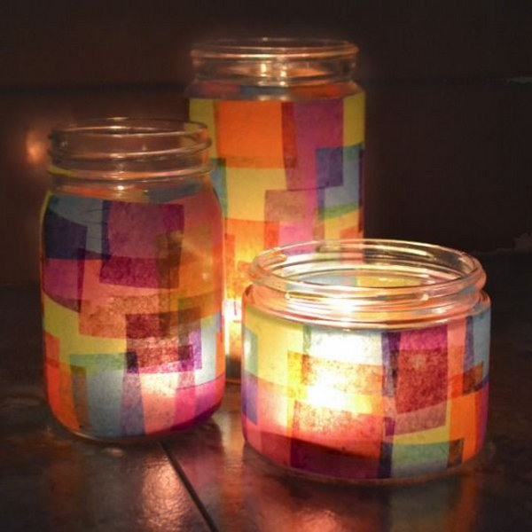 Candle holder decorated with tissue paper,