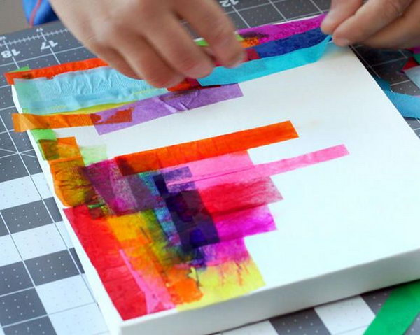 Creative tissue paper crafts for kids and adults hative for Newspaper canvas art