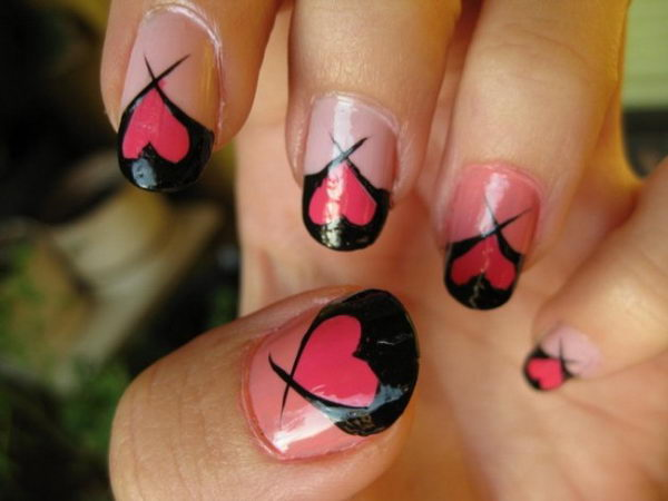 Romantic Valentine Nail Art.