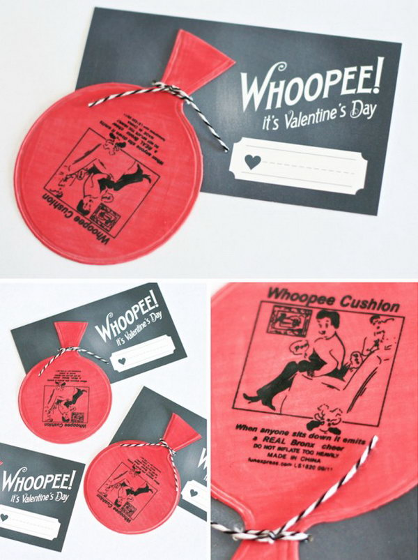 Funny Whoopee Cushions Valentine Day Card. Creative Valentine Cards that stand out from those of his classmates through the use of clever, interesting sayings. A fun play on words.