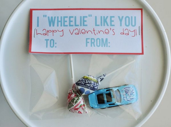 I 'Wheelie' Like You Valentine Day Card for boys who LOVE cars.