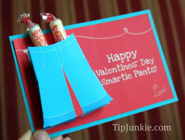 3D Smartie Pants Valentines Candy Card. Creative Valentine Cards that stand out from those of his classmates through the use of clever, interesting sayings. A fun play on words.